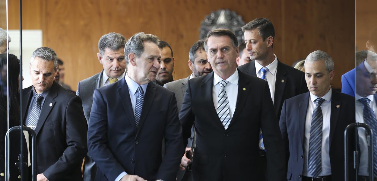 O presidente do Superior Tribunal de Justiça (STJ), João Otávio de Noronha, recebe o presidente eleito Jair Bolsonaro.