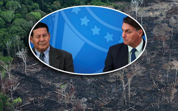 Hamilton Mourão e Jair Bolsonaro; vista aérea de área desmatada da Amazônia em Itaituba, no Pará