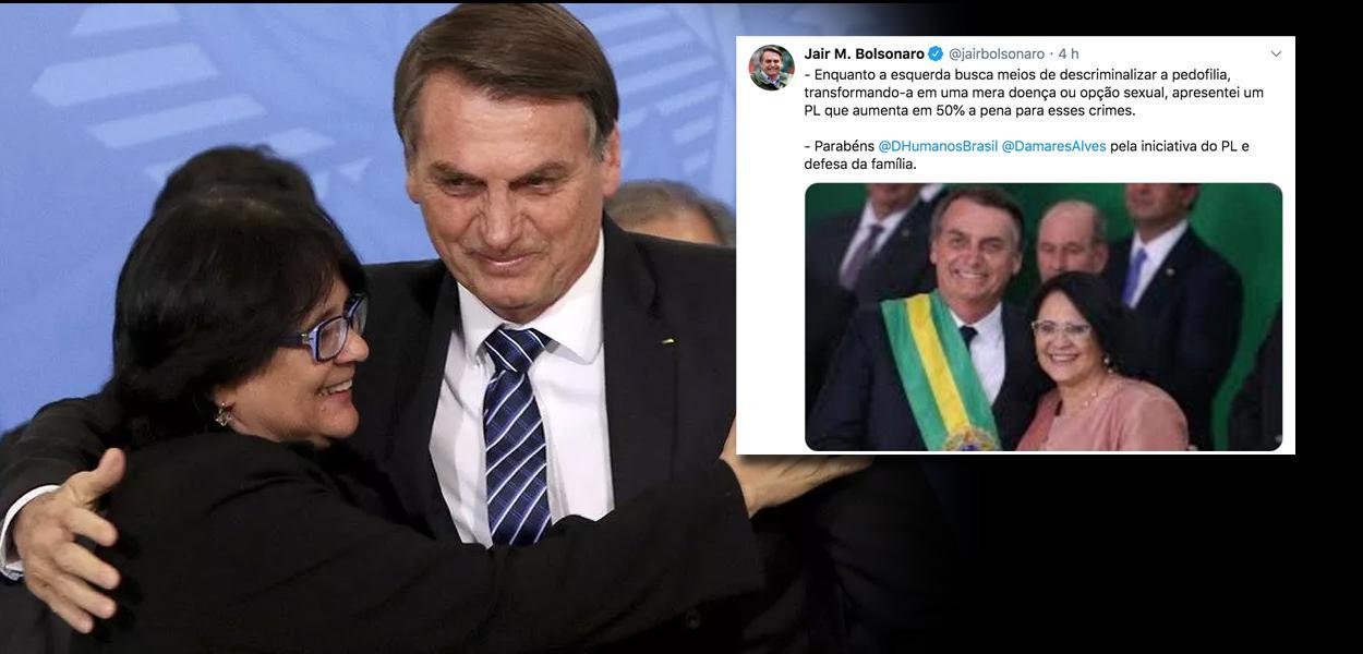 Jair Bolsonaro e a ministra dos Direitos Humanos no Brasil, Damares Alves