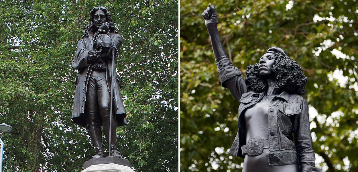 Estátua de Edward Colston e estátua 'A Surge of Power (Jen Reid) 2020'