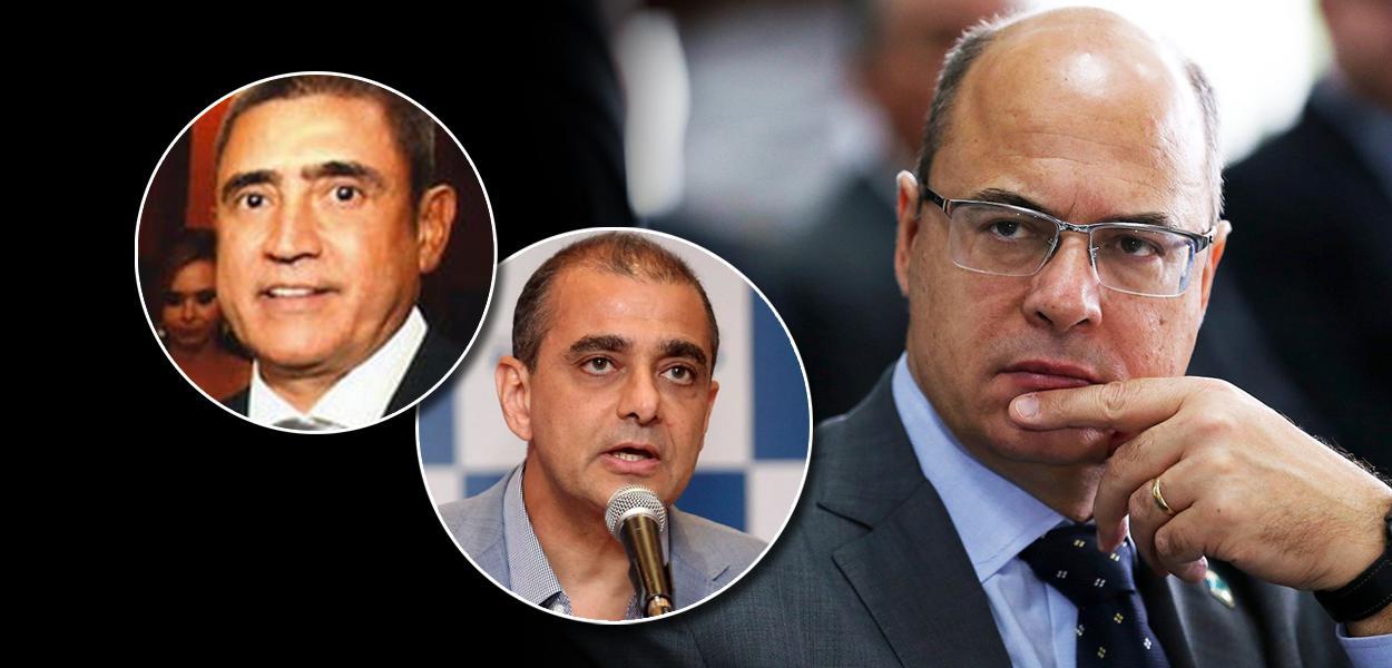 O empresário Mario Peixoto; ex-secretário da Saúde Edmar Santos; e o governador Wilson Witzel