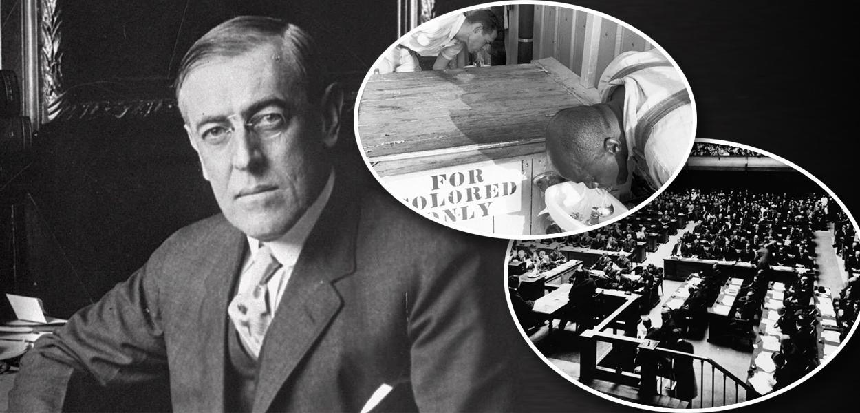Woodrow Wilson, segregação racial nos EUA e reunião da Liga das Nações