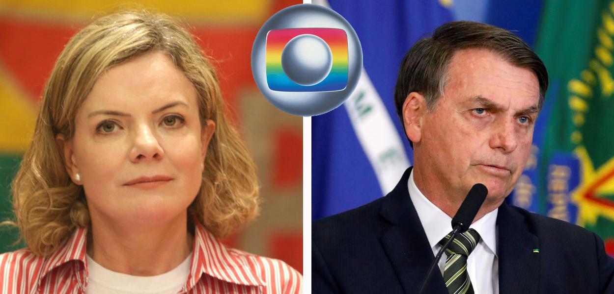 Gleisi Hoffmann e Jair Bolsonaro