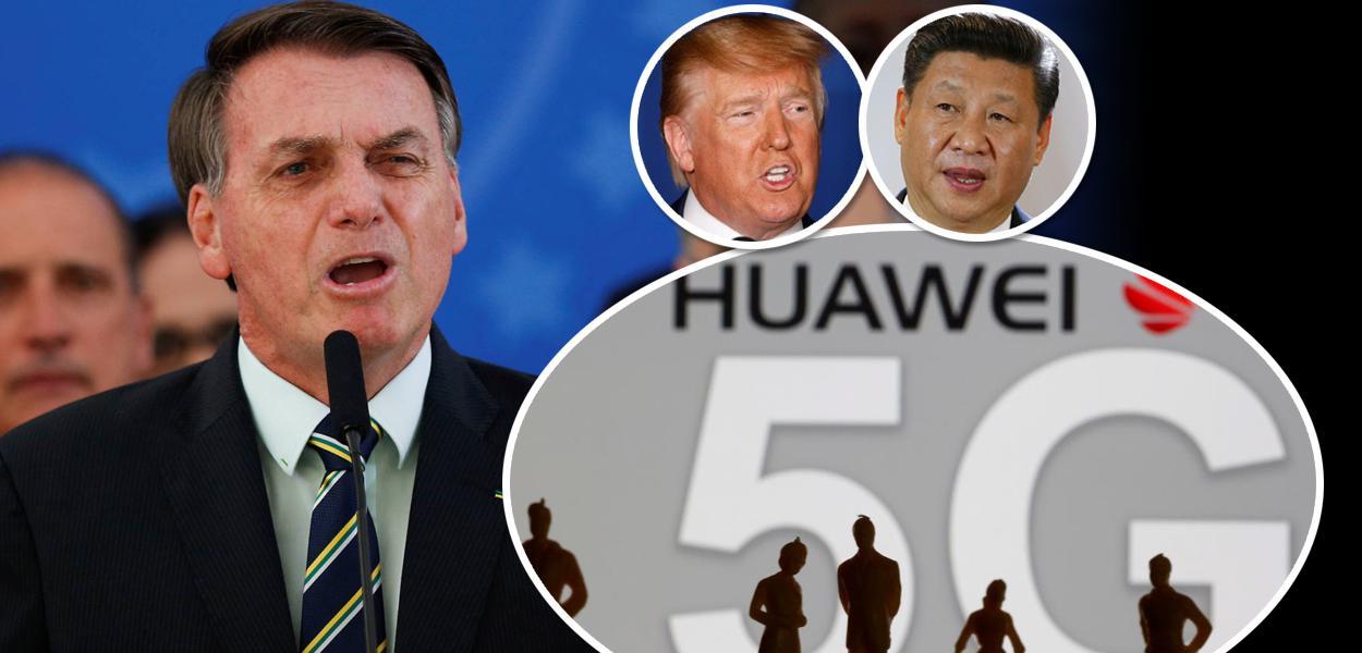Jair Bolsonaro, Donald Trump, Xi Jinping e Huawei