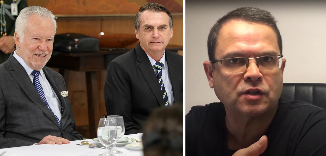 Alexandre Garcia com Jair Bolsonaro e Sidney Rezende