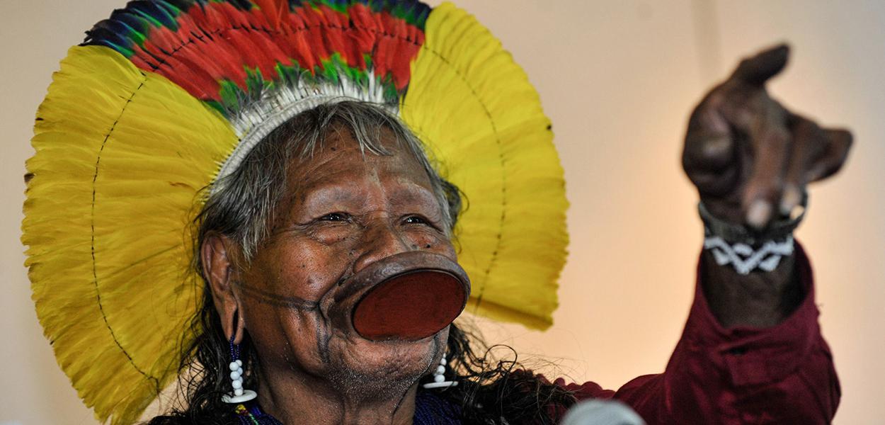 O cacique Raoni Metuktire, de 89 anos, líder da etnia Kayapó, estava internado em um hospital de Colíder, a 648 km de Cuiabá. 18 de julho de 2020