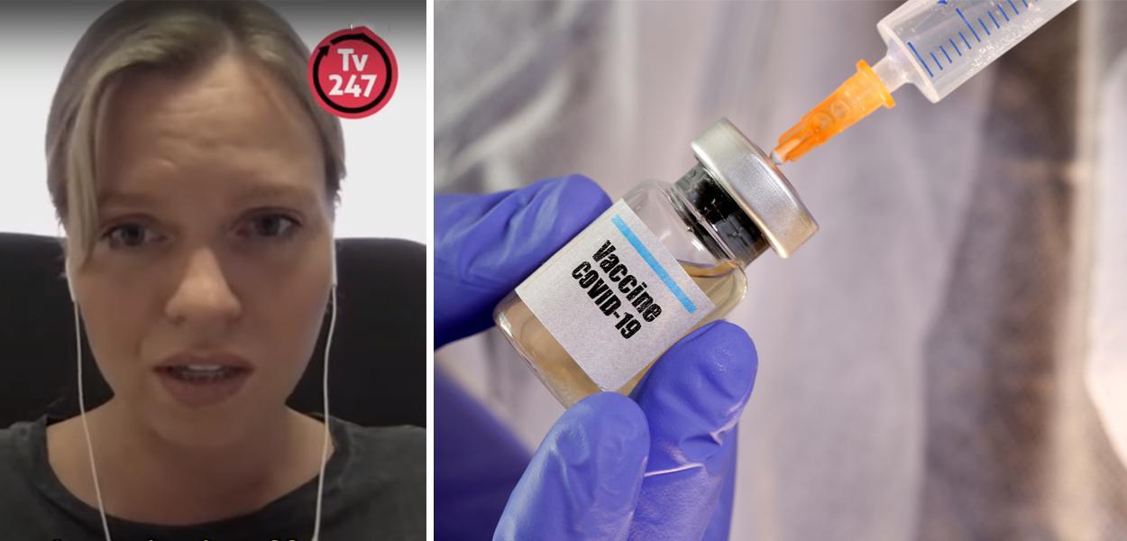 Tatiana Kukhareva e imagem de vacina da covid-19