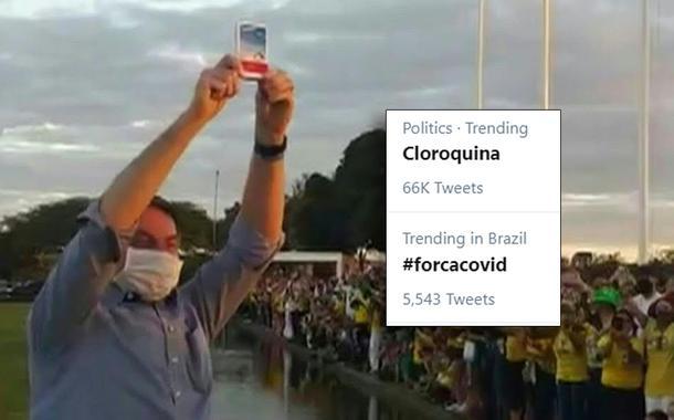 Bolsonaro mostra caixa de cloroquina ao povo