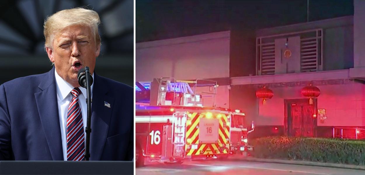 Donald Trump e carro de bombeiros é visto do lado de fora do consulado chinês em Houston, nos EUA