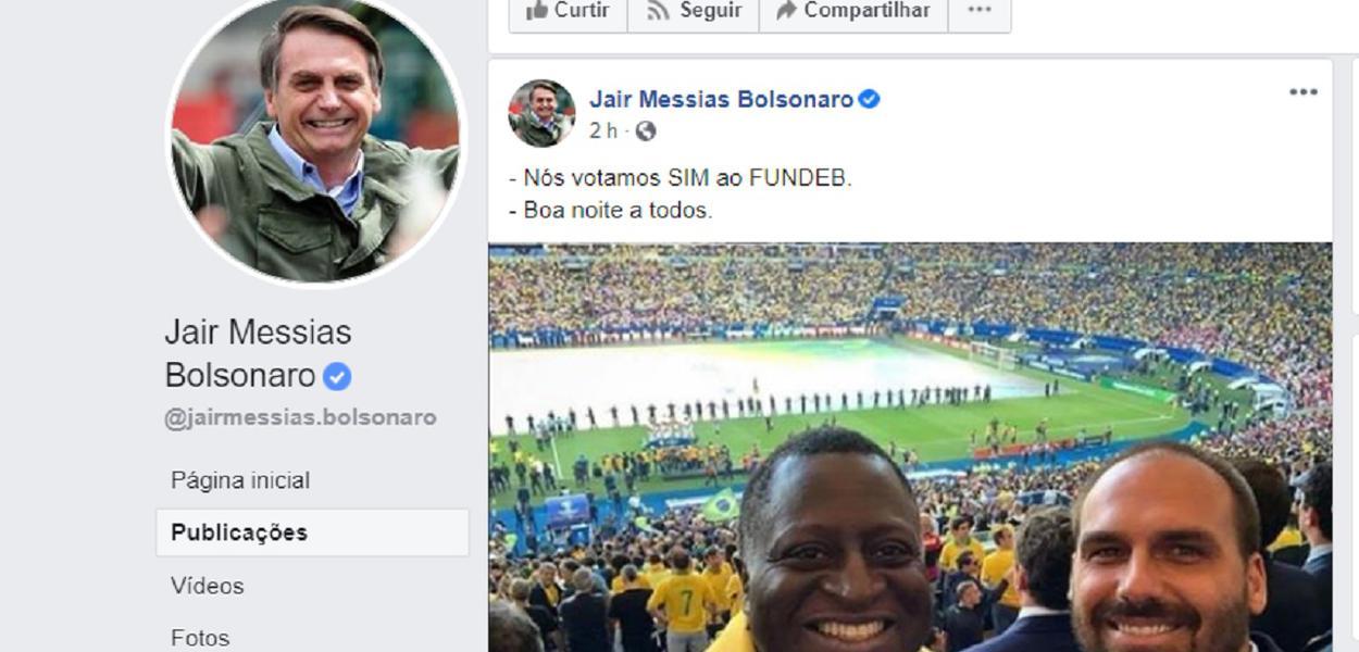 Bolsonaro fatura aprovação de Fundeb em Facebook