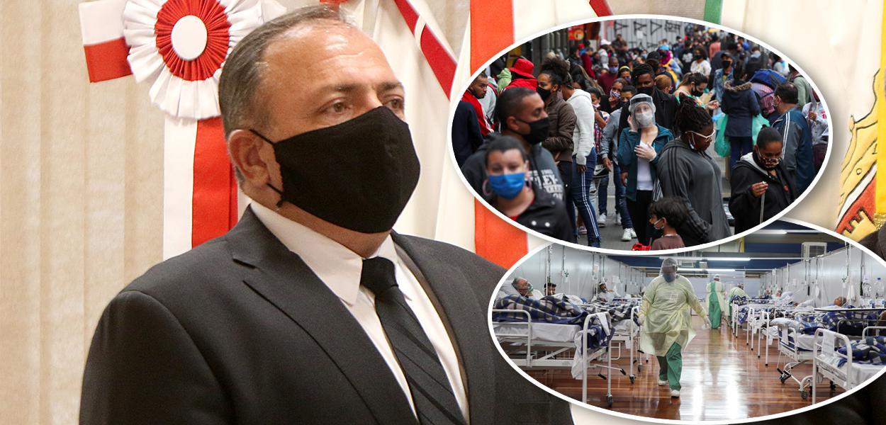 Eduardo Pazuello e cenas na pandemia por Covid-19