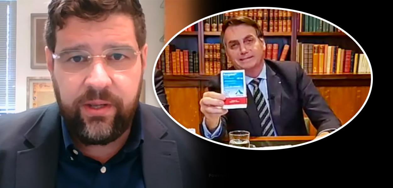 Marcelo Uchôa e Jair Bolsonaro mostrando caixa de cloroquina