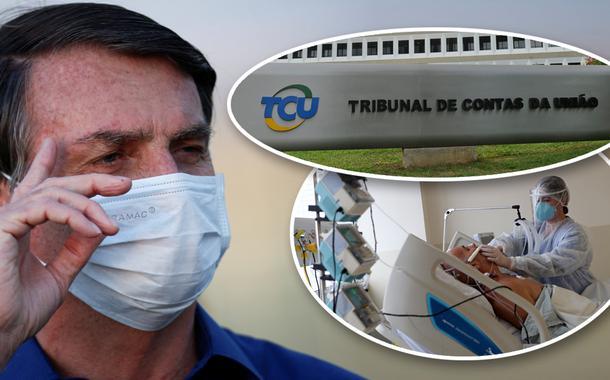 Jair Bolsonaro, fachada do TCU e pessoa hospitalizada por Covid-19