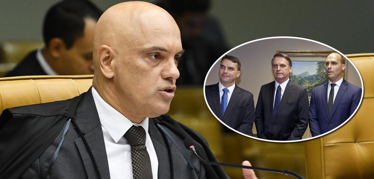Alexandre de Moraes, Flávio, Jair  e Eduardo Bolsonaro