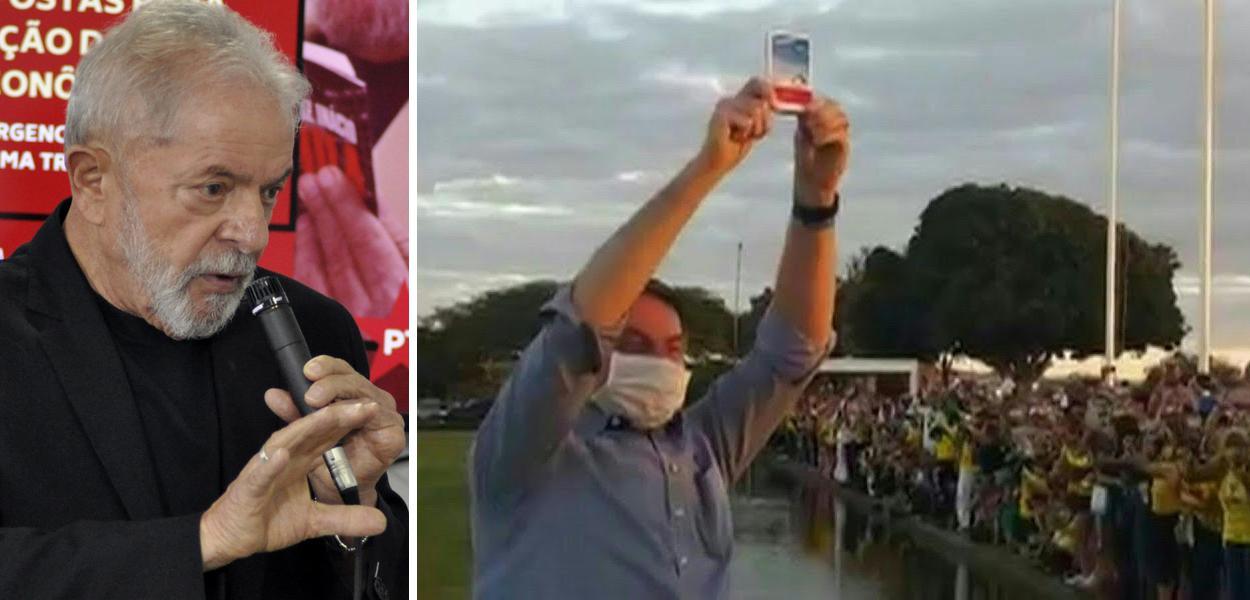 Lula e Jair Bolsonaro mostrando caixa de cloroquina