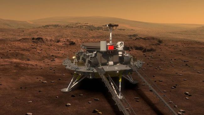 Tianwen-1 pousada no solo marciano