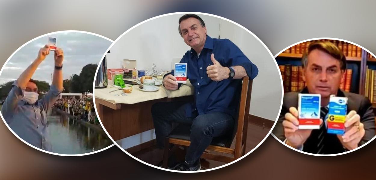 Jair Bolsonaro segurando caixa de cloroquina