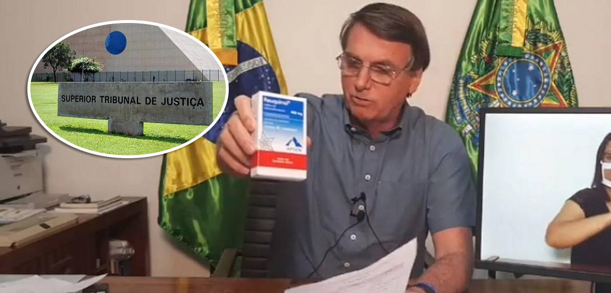 Fachada do STJ e Bolsonaro mostrando caixa de cloroquina