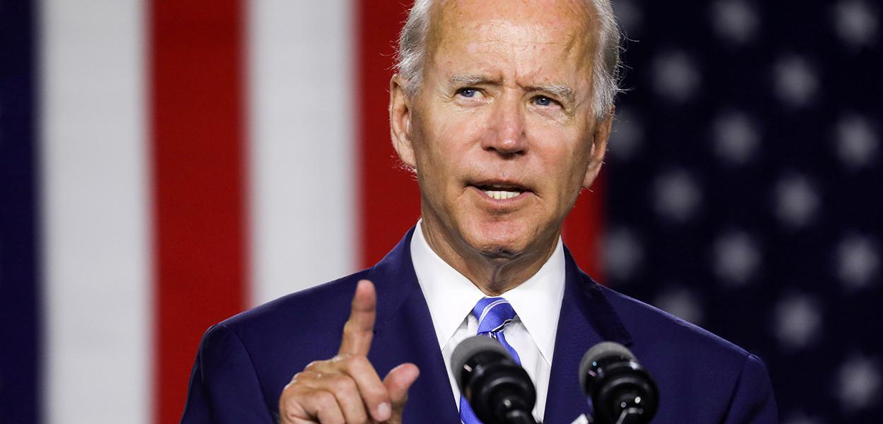 Joe Biden discursa em evento de campanhe em Wilmington, Delaware 14/07/2020