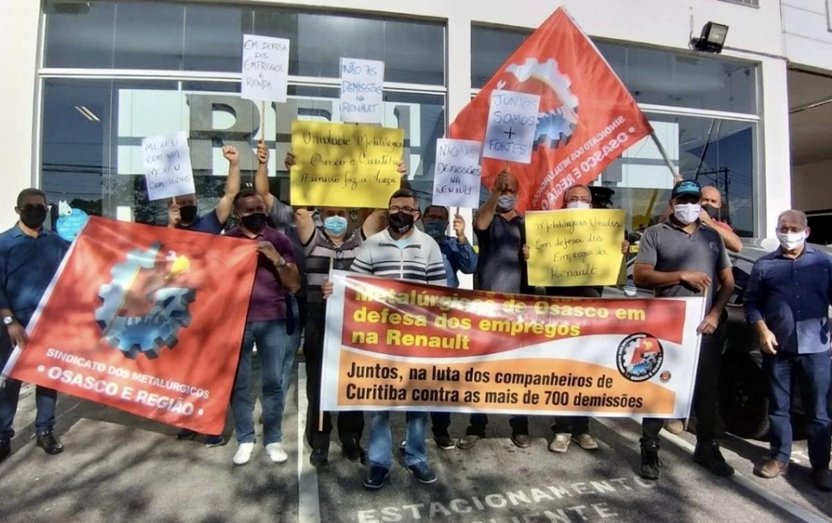 Protesto de operários metalúrgicos