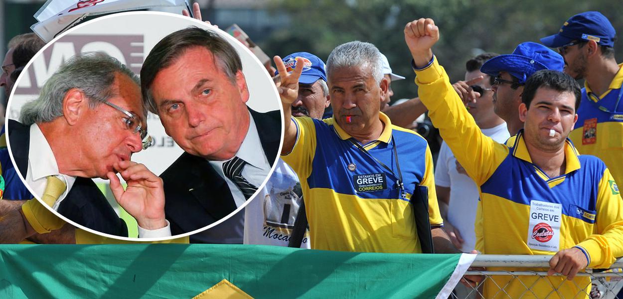 Paulo Guedes, Jair Bolsonaro e funcionários dos Correios