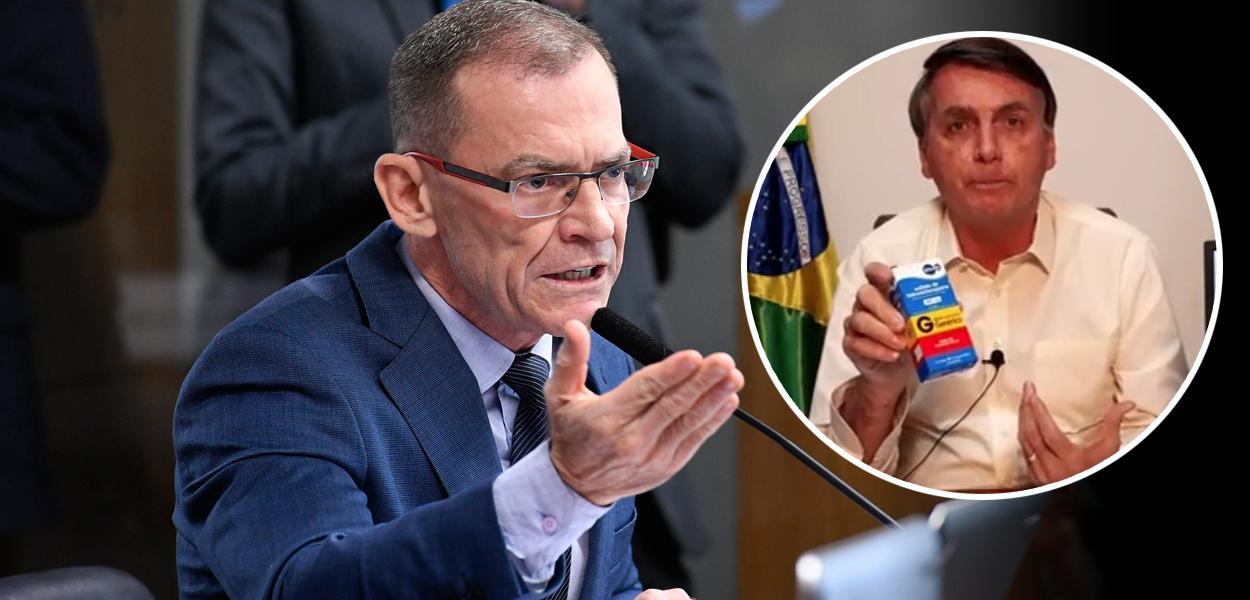 Senador Fabiano Contarato e Jair Bolsonaro mostrando caixa de cloroquina