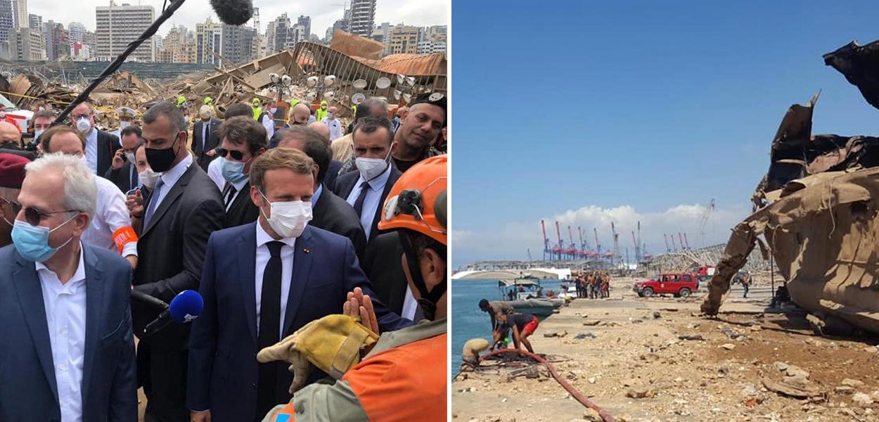 Emmanuel Macron (França) no Líbano