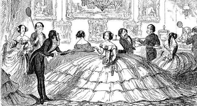 Sátira à moda das saias exageradamente amplas