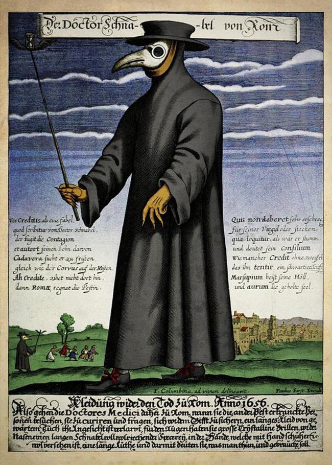 Máscara de médico europeu nos tempos da peste bubônica