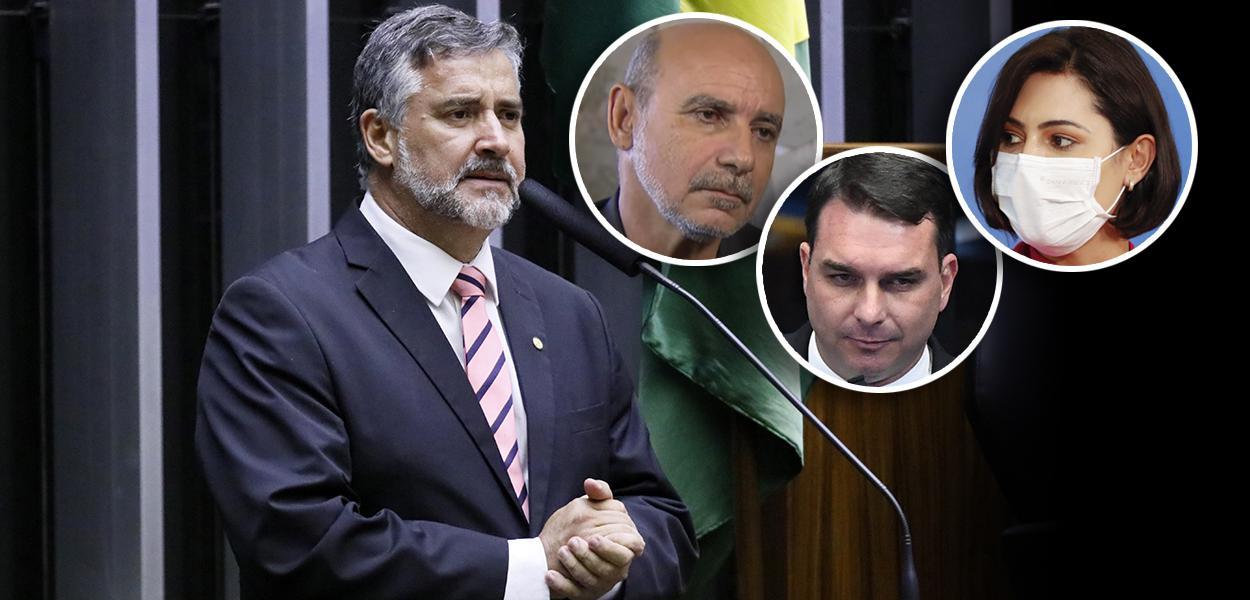 Paulo Pimenta, Fabrício Queiroz, Flávio Bolsonaro e Michelle Bolsonaro