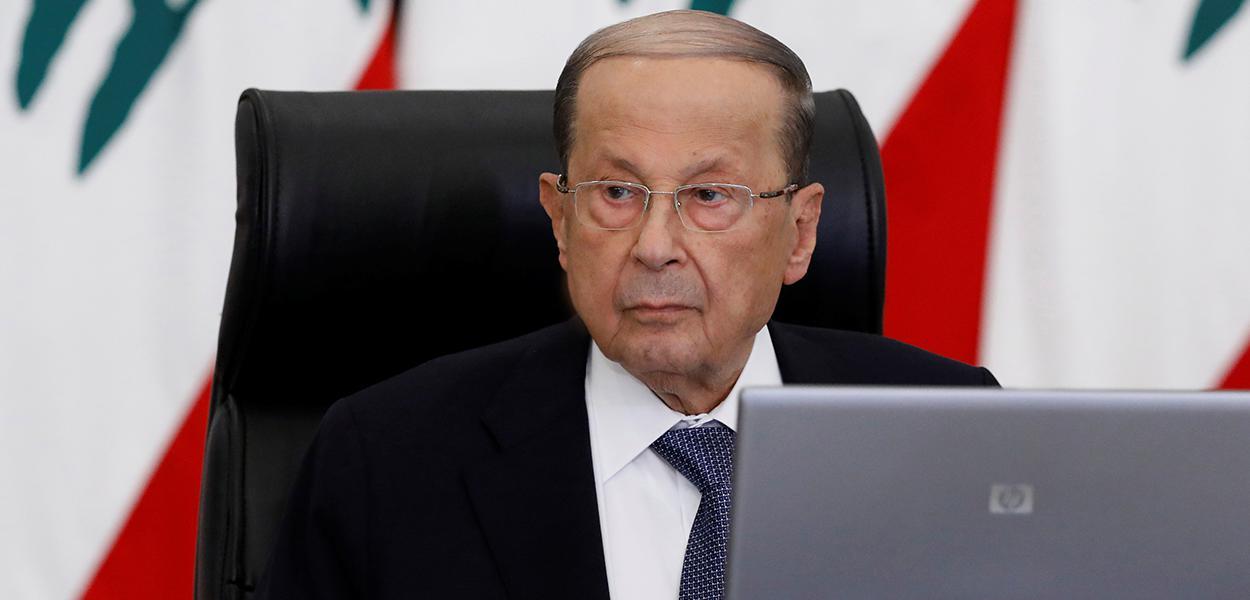 Presidente do Líbano, Michel Aoun, em Baabda