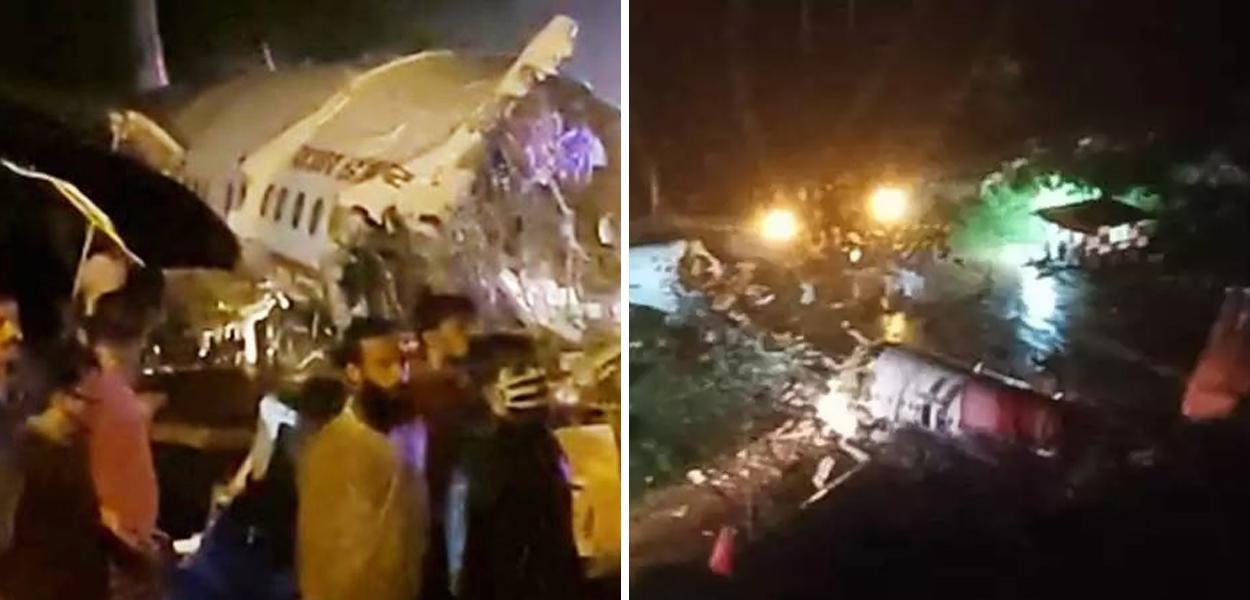Avião se acidenta em pouso na Índia