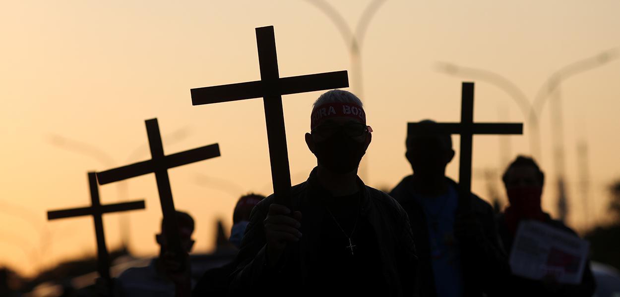 Homenagem em São Paulo às 100 mil vítimas da Covid-19 no Brasil 07/08/2020