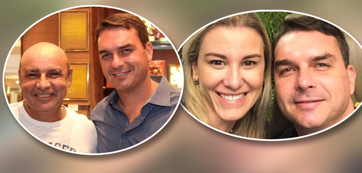 Fabrício Queiroz com Flávio Bolsonaro e Fernanda Antunes Figueira com Flávio Bolsonaro