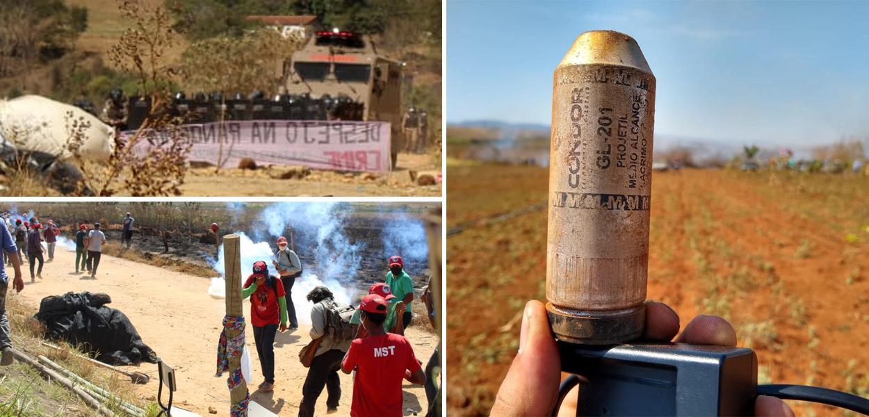 PM de Minas usa bombas e veículo blindado no despejo de famílias no Quilombo do Meio