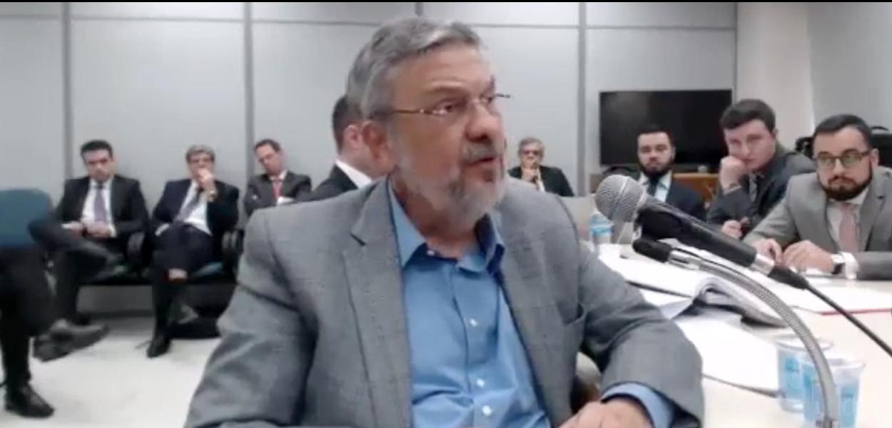 O ex-ministro Antonio Palocci em depoimento na Lava Jato.