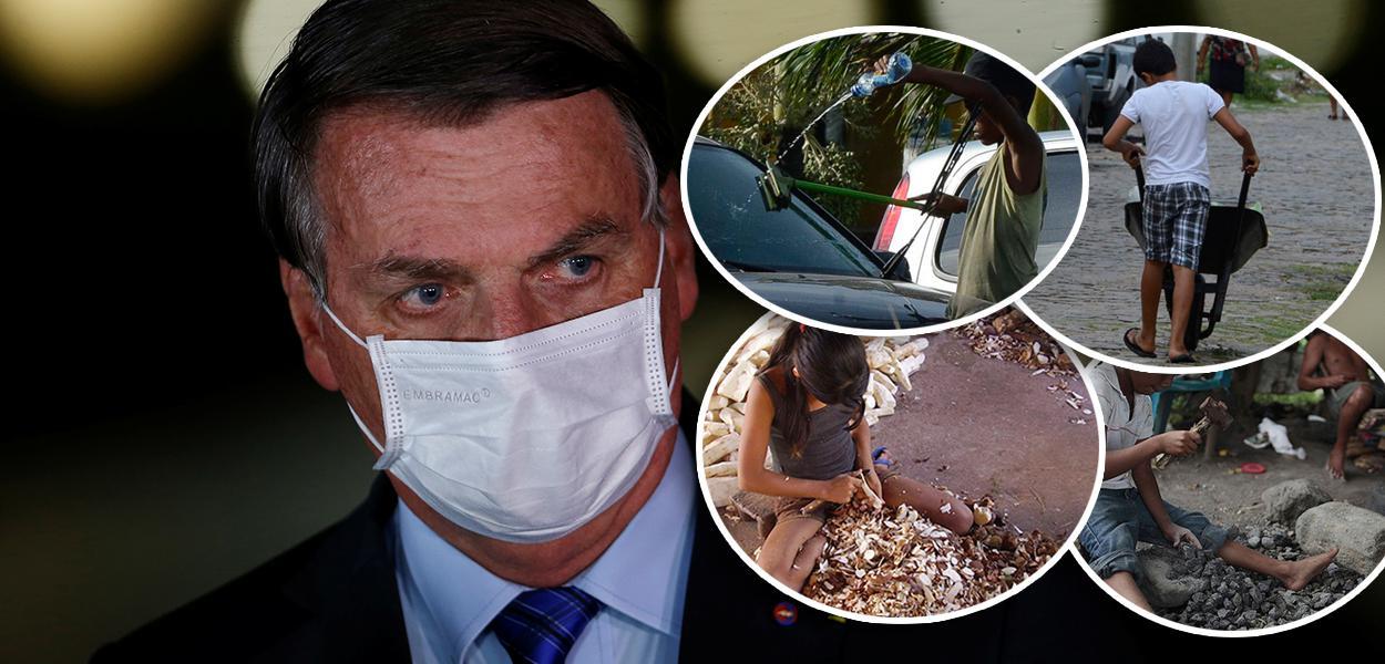 Jair Bolsonaro e crianças trabalhando