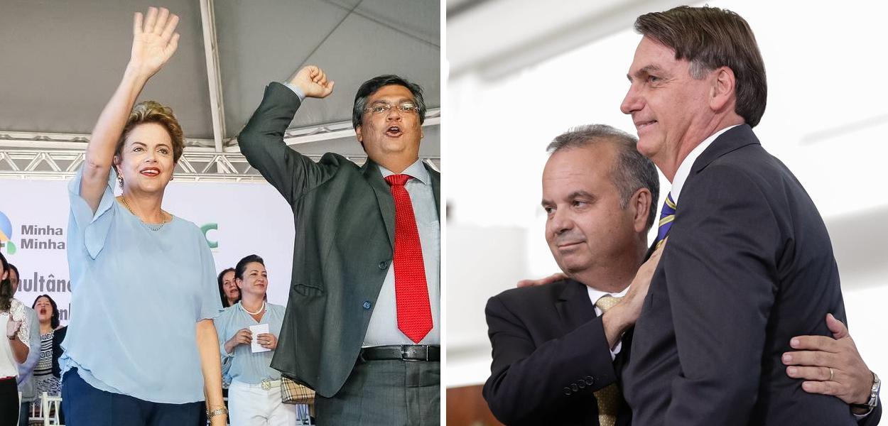Dilma com Flávio Dino e Rogério Marinho com Bolsonaro