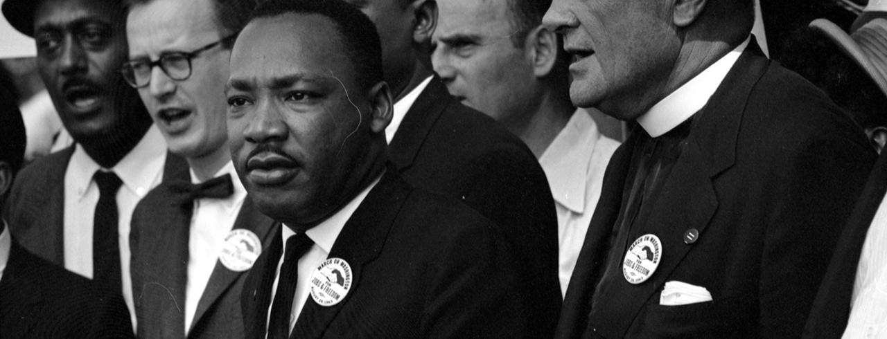 Rev. Martin Luther King Jr. (C) leads other civil rights leaders and marchers during the March on Washington for Jobs and Freedom in this August 28, 1963 file photo shot by U.S. Information Agency photographer Rowland Scherman and provided to Reuters by the U.S. National Archives in Washington on August 21, 2013. In the coming week, Washington will play host to an array of events marking the 50th anniversary of the march and speech.   REUTERS/Rowland Scherman/U.S. Information Agency/U.S. National Archives  (UNITED STATES - Tags: POLITICS ANNIVERSARY) ATTENTION EDITORS - THIS IMAGE WAS PROVIDED BY A THIRD PARTY. FOR EDITORIAL USE ONLY. NOT FOR SALE FOR MARKETING OR ADVERTISING CAMPAIGNS.THIS PICTURE IS DISTRIBUTED EXACTLY AS RECEIVED BY REUTERS, AS A SERVICE TO CLIENTS