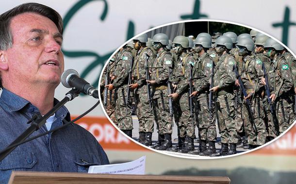 Jair Bolsonaro e soldados do exército