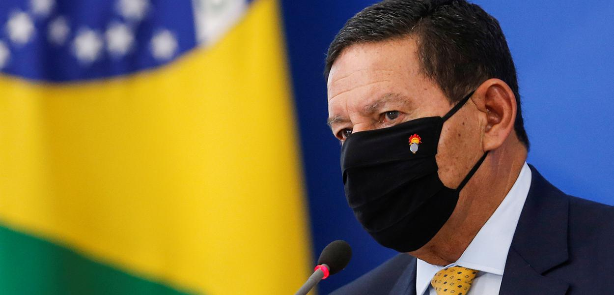 Vice-presidente Hamilton Mourão durante entrevista coletiva no Palácio do Planalto