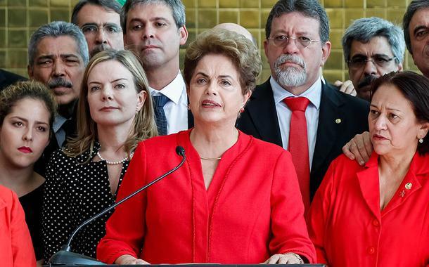 Presidenta Dilma Rousseff durante declaração a imprensa após comunicado do Senado Federal sobre o Processo de impeachment. 31 de agosto de 2016