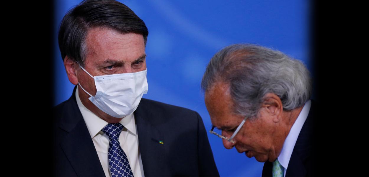 Bolsonaro e Guedes participam de cerimônia no Palácio do Planalto