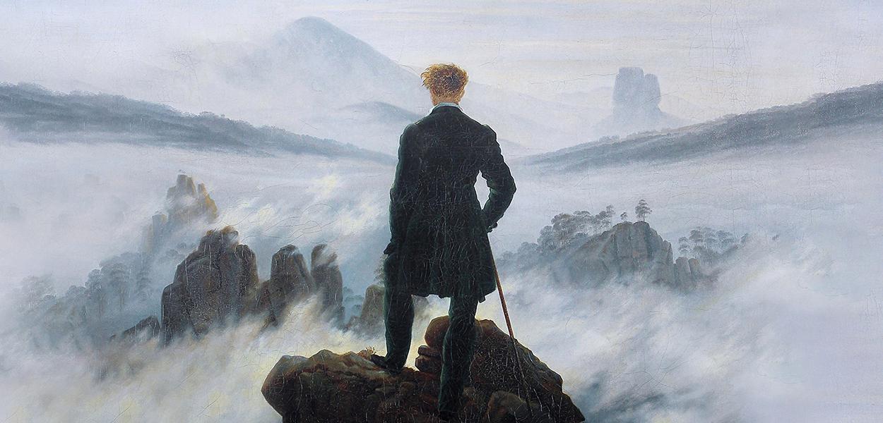 Quadro Caminhante sobre o mar de névoa por Caspar David Friedrich