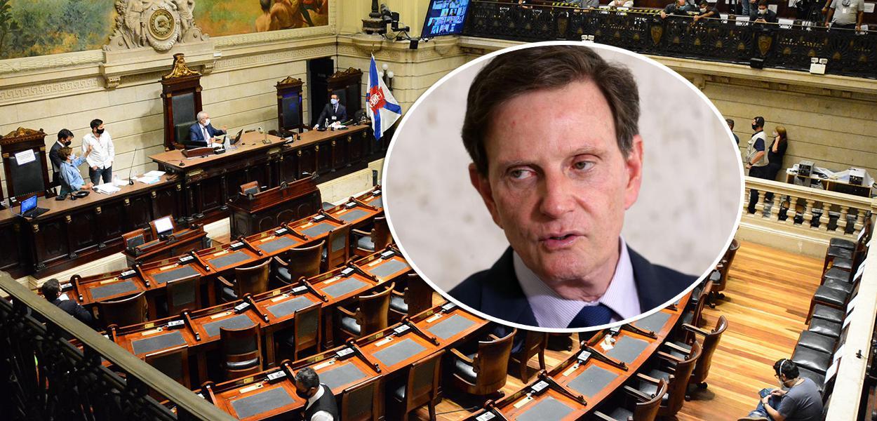 Plenário da Câmara Municipal do Rio de Janeiro e Marcelo Crivella
