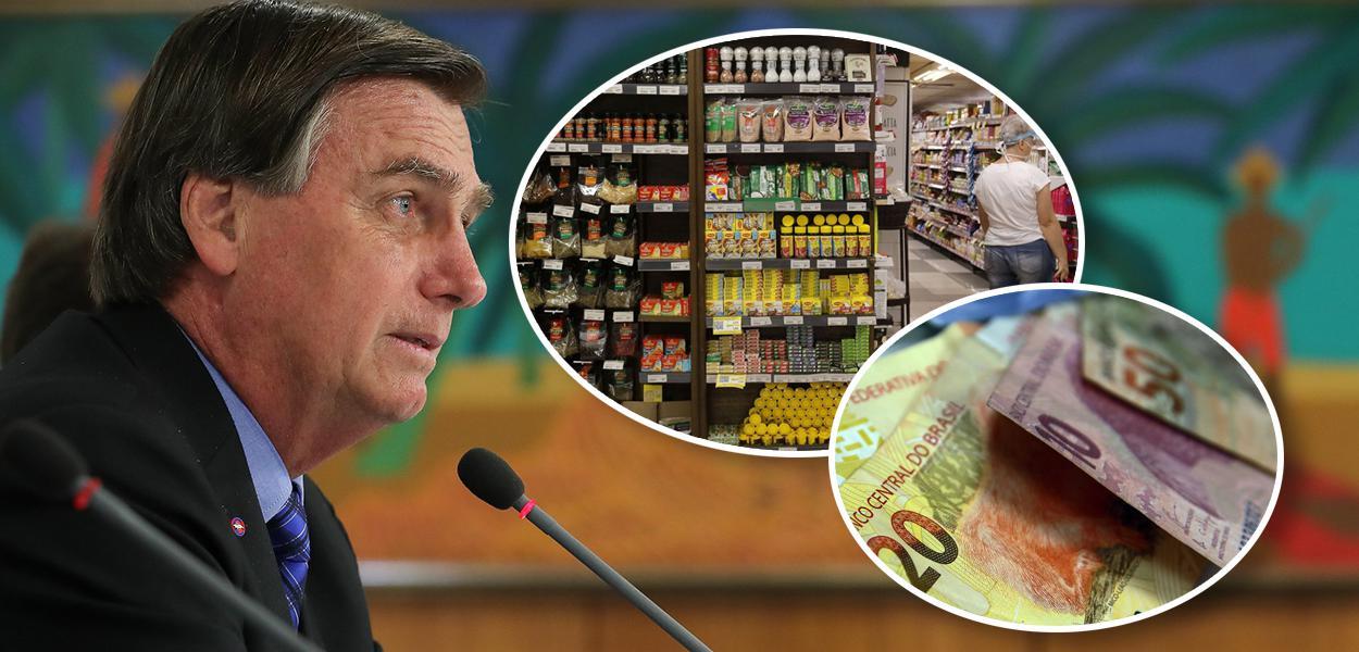 Jair Bolsonaro, pessoa fazendo compras no mercado e notas de real