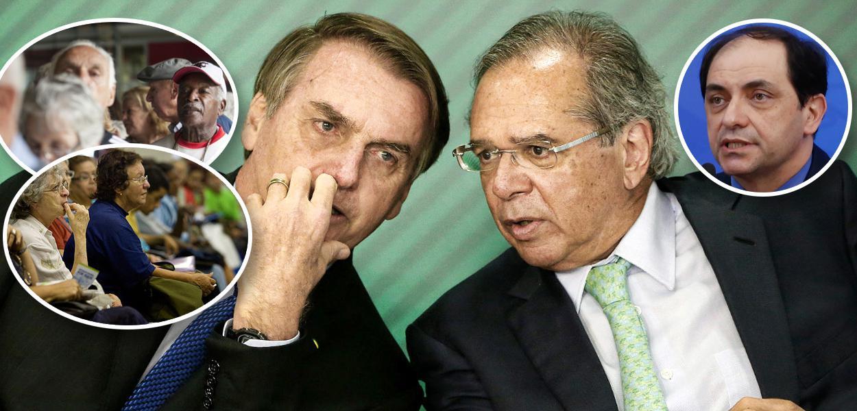 Aposentados, Bolsonaro com Paulo Guedes e Waldery Rodrigues