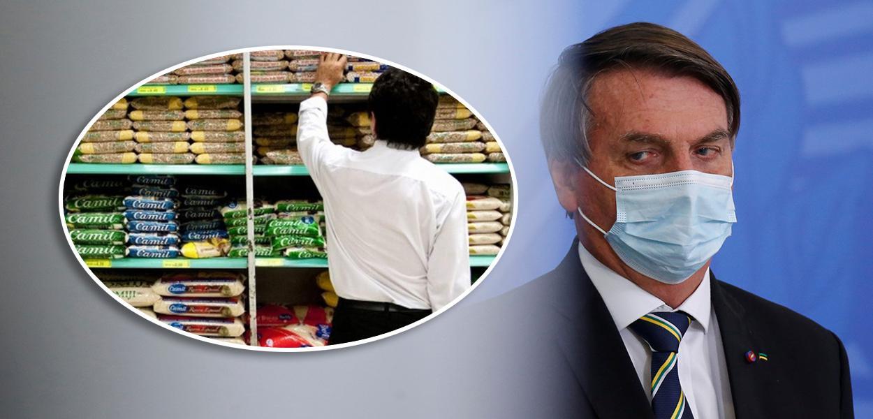 Homem fazendo compra em supermercado e Jair Bolsonaro