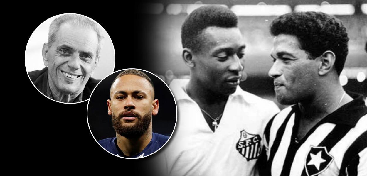 O comunista e jornalista João Saldanha, Neymar e os melhores jogadores da história Pelé e Garrincha