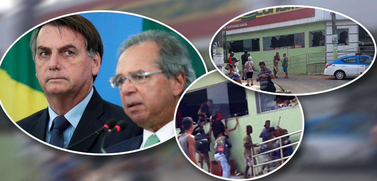 Jair Bolsonaro com Paulo Guedes e mercado sendo saqueado